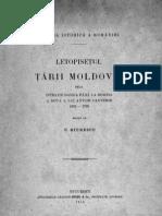 Constantin Giurescu- Letopiseţul Ţării Moldovei  dela Istratie Dabija până la domnia a doua a lui Antioh Cantemir  1661-1705