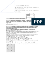 Prova bimestral 8º Ano Matemática