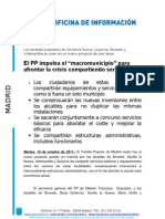 """El PP impulsa el """"macromunicipio"""" para afrontar la crisis compartiendo servicios"""