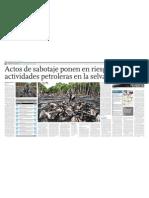 Actos de Sabotaje Ponen en Riesgo Actividades Petrol Eras en La Selva