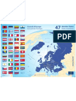 Map and flags of the 47's members of europe