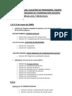 CLAUSTRO DE PROFESORES, EQUIPO DIRECTIVO, OTRAS ORGANIZACIONES DE COORDINACIÓN DOCENTE Y CONSEJO ESCOLAR