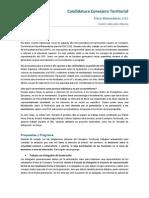 Programa Vicente Valenzuela Consejero Territorial 2012