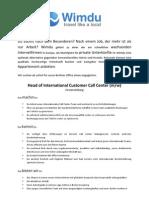 Head of International Customer Call Center