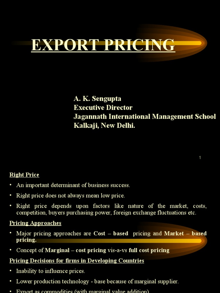 Export Pricing | Pricing | Prices