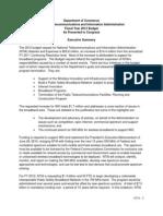 NTIA Budget FY2012 Summary