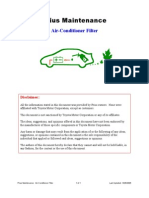 Prius Maintenance Air Conditioner Filter