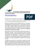 Un mensaje del Comité Internacional para el 17 de octubre de 2011 en ocasión al Día Internacional para la Erradicación de la Pobreza