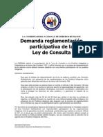 CNDDHH Comunicado de Reglamentación de Ley de Consulta