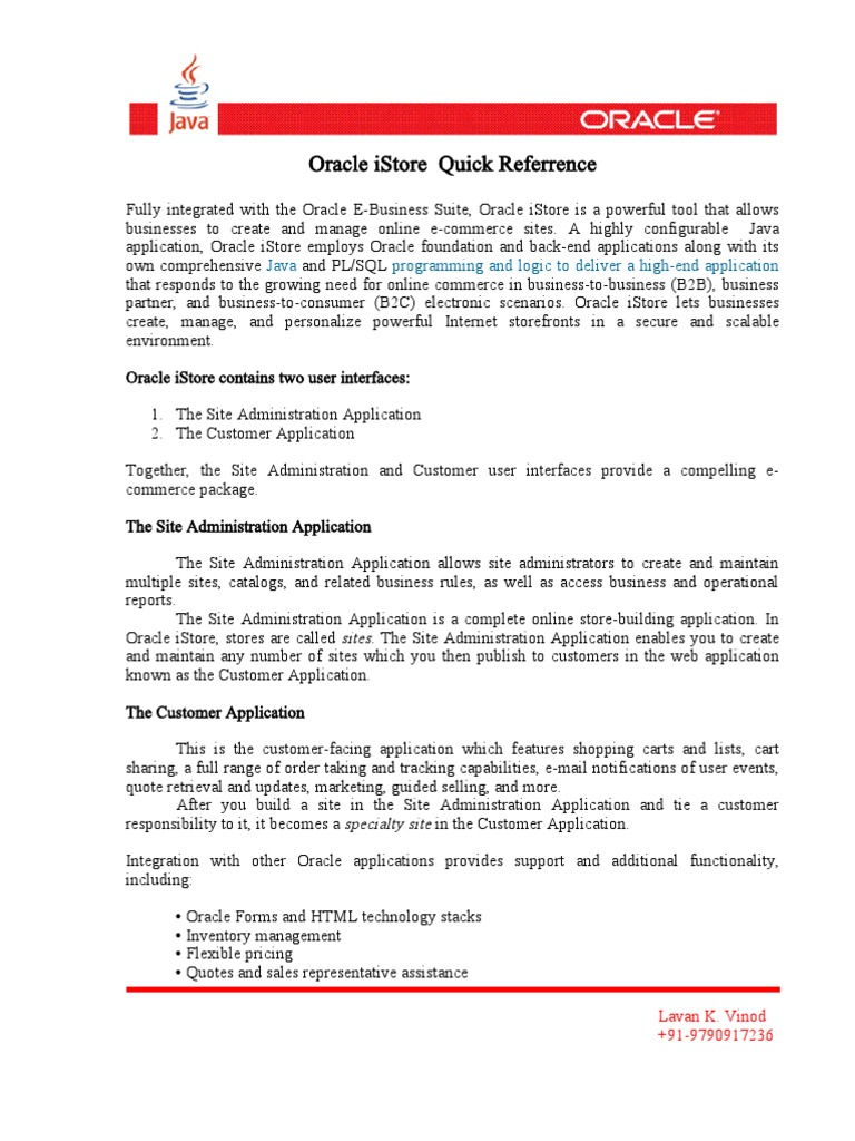Oracle iStore Quick Referrence-1 doc | Oracle Database