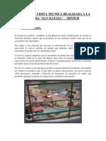INFORME DE VISITA TECNICA REALIZADA A LA MINERA