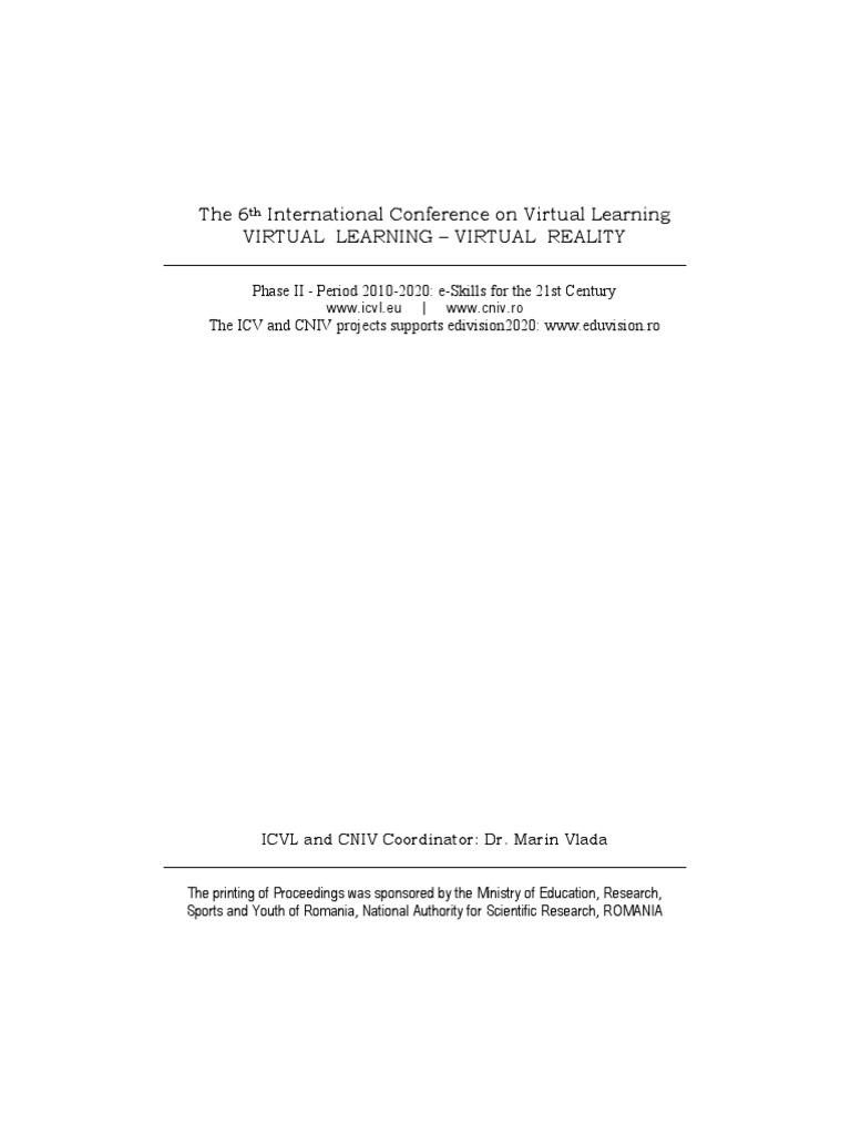 Proceedings of icvl 2011 issn 1844 8933 isi proceedings proceedings of icvl 2011 issn 1844 8933 isi proceedings educational technology virtual reality fandeluxe Gallery
