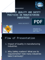 Impact of Quality and Safety Practices in Manufacturing Industries