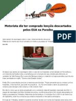 Motorista diz ter comprado lençóis descartados pelos EUA na Paraíba