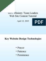 GCC Ministry Team Leaders Website Presentation