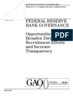 FEDERAL RESERVE BANK GOVERNANCE GAO REPORT