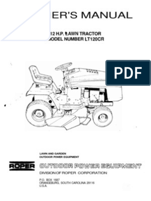 ROPER12HPLAWNTRACTORLT120CROWNERSMANUAL | Tractor | Belt