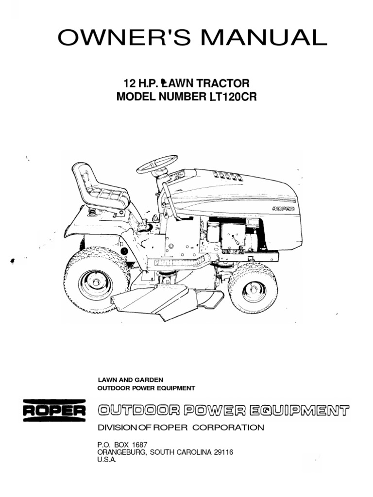 roper12hplawntractorlt120crownersmanual tractor belt (mechanical) lawn mower ignition diagram wiring diagram for roper lawn mower #6