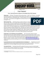 """Friendship House MSU """"Fast Friends"""" Newsletter for Internationals--#1"""