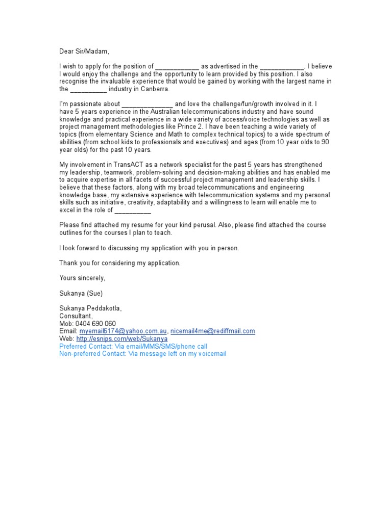 sp_covering_letter_template - Please Find Attached My Resume