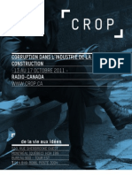 Sondage sur la corruption dans l'industrie de la construction