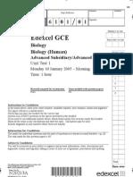 Edexcel A-LEVEL BIO1 January 2005 QP