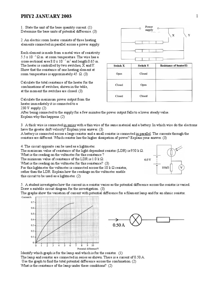Edexcel A Level Phy2 January 2003 Qp Electrical Resistance And Is Simple Circuit Diagram Consisting Of Battery Two Resistors Conductance Resistor