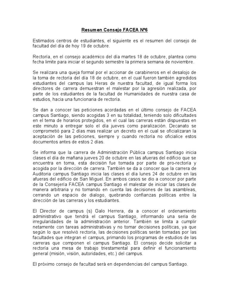 Resumen Consejo FACEA Nº6