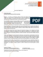 TBBC Press Release, Embargoed Until 25Oct2011