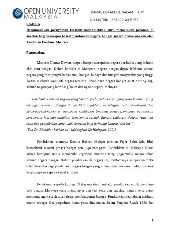 Assingments Pembinaan Negara Bangsa Malaysia Siap