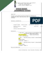 Resume DOST MUHAMMAD CNO 44 prtd