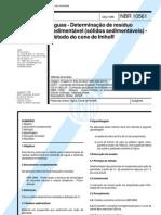 NBR 10561 -1988 - Aguas - Determinacao de Residuo Sedimentavel (Solidos Sedimentaveis - Metodo d