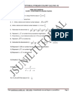 9th Number System Test Paper-2