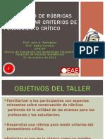 Pensamiento crítico - Rúbricas para evaluar pensamiento crítico -21 de oct de 2011