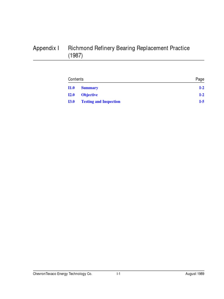 Refinary Bearing Replacement Technique