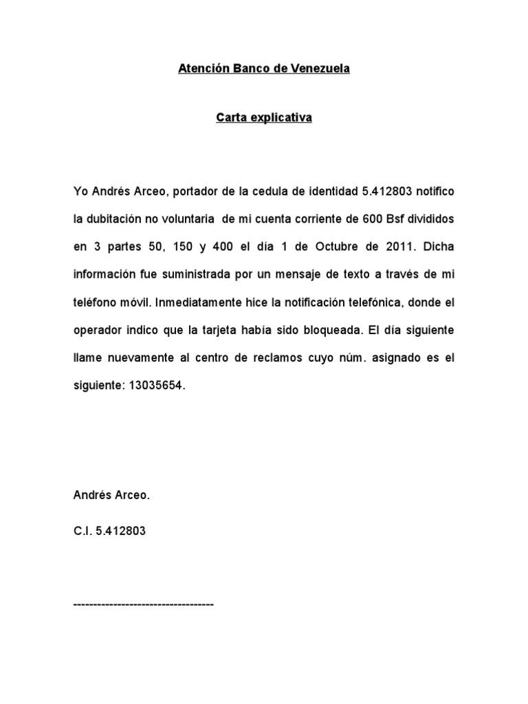 Carta explicativa for Solicitud de chequera banco venezuela