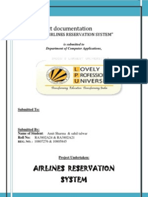 Airline Reservation System Project Documentation   Software