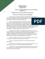 Senate Testimony 031511