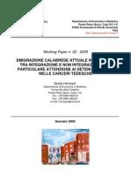 G. Homeyer, Emigrazione calabrese attuale in Germania, Università della Calabria, 2009