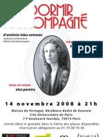 Dormir Accompagné, d'António Lobo Antunes - 14 novembre 2008 à 21 h