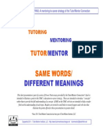 Defining Terms.  Tutoring. Mentoring.