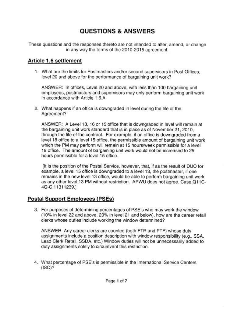 Apwuusps Contract Qa United States Postal Service Payroll
