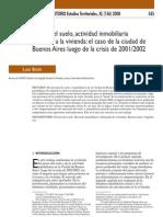 Mercado de suelo y acceso a la vivienda en Buenos Aires luego de la crisis de 2001/02. Por Luis Baer (2008) publicado en Revista Ciudad y Territorio.