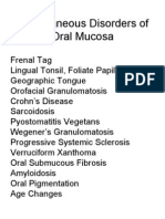 Dent 353-08 Miscellaneous Disorders of Oral Mucosa-students