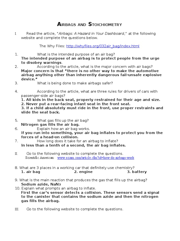 Airbags and Stoichiometry Answers Airbag – Stoichiometry Worksheet with Answers