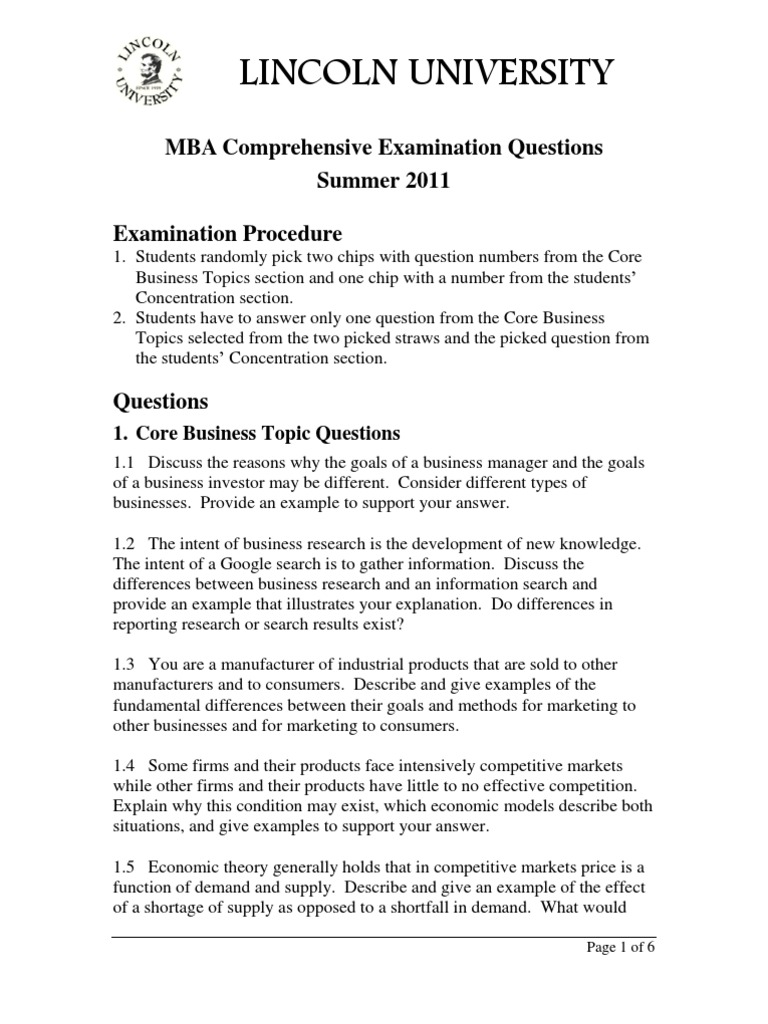 MBA Comprehensive Exam Questions Summer 2011 | Strategic