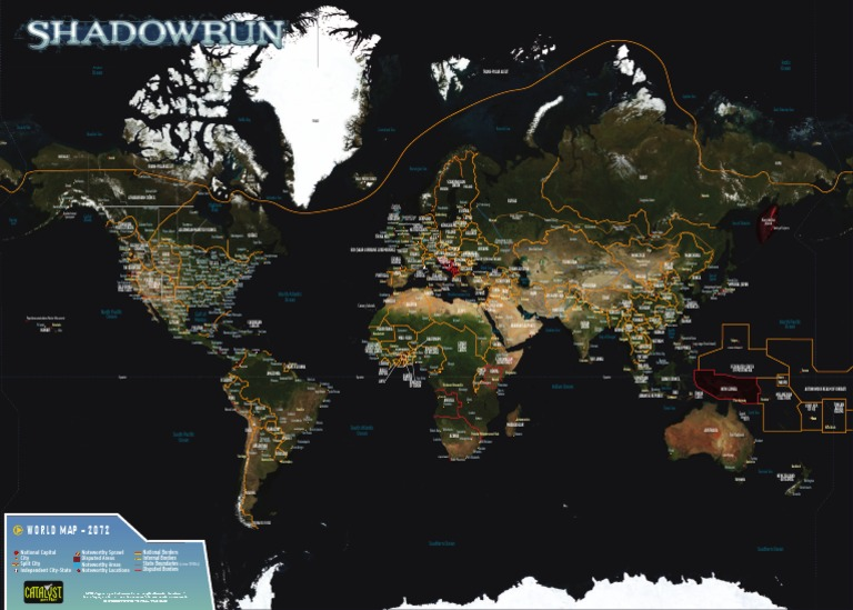Shadowrun 4th edition sixth world almanac world map poster gumiabroncs Image collections