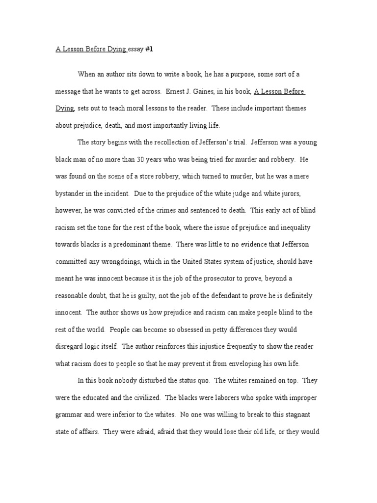 a lesson before dying essay on education