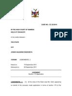 S v Ngesheya (CC 22/2010) [2011] NAHC 297 (29 September 2011)