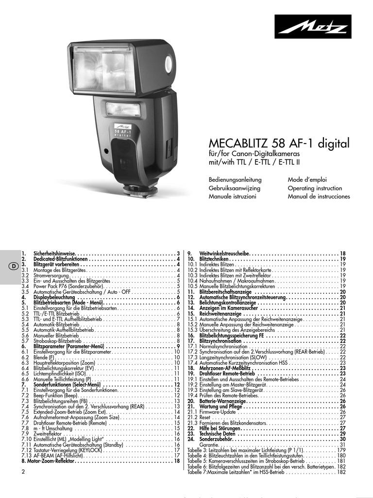 MECABLITZ 58 AF-1 digital for Canon digital cameras with